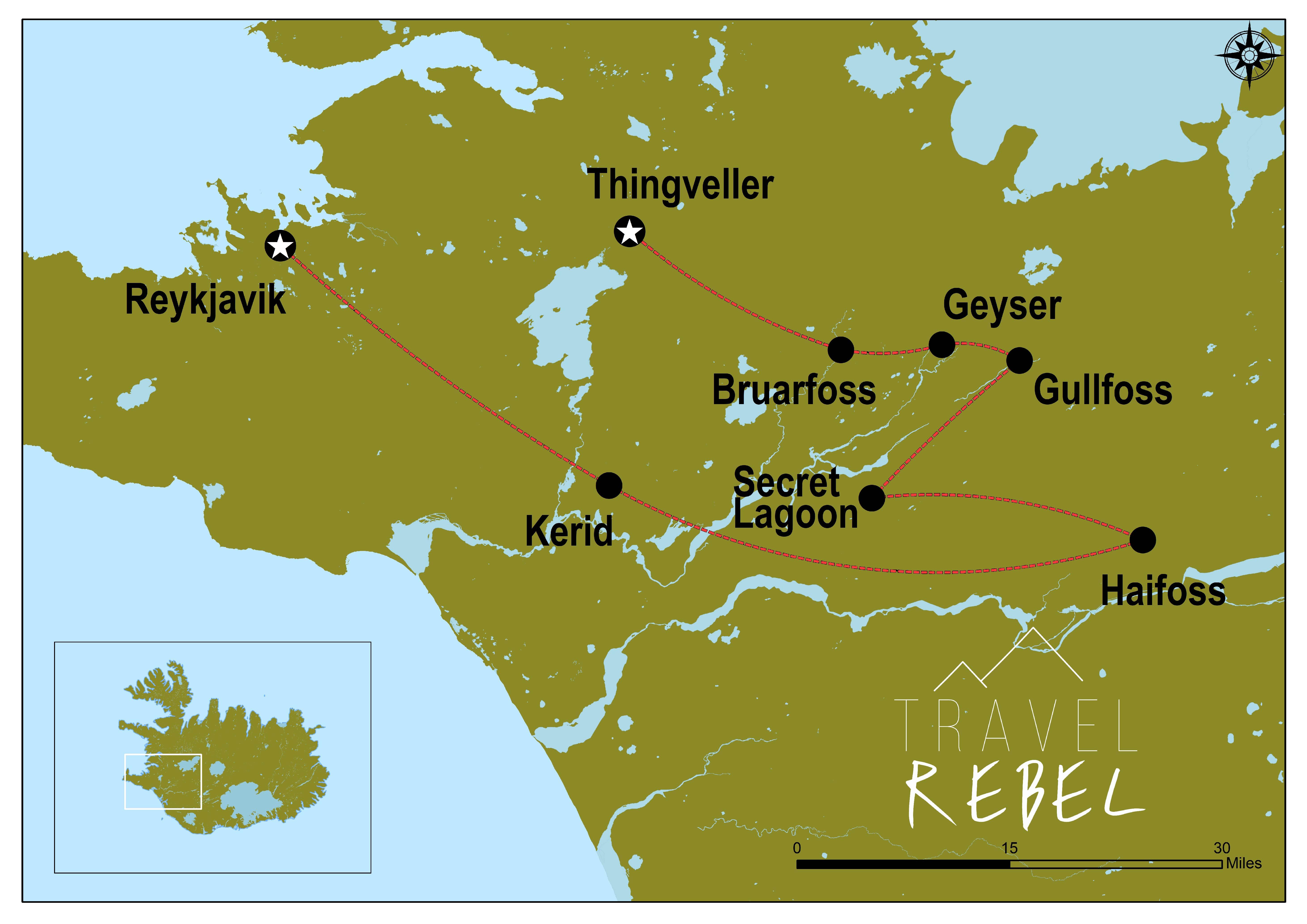 IJsland Gouden Cirkel Roadmap