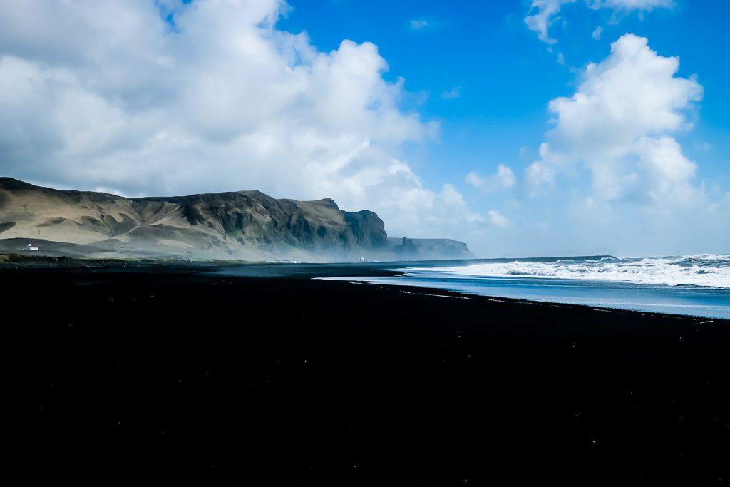 Black-sand beach