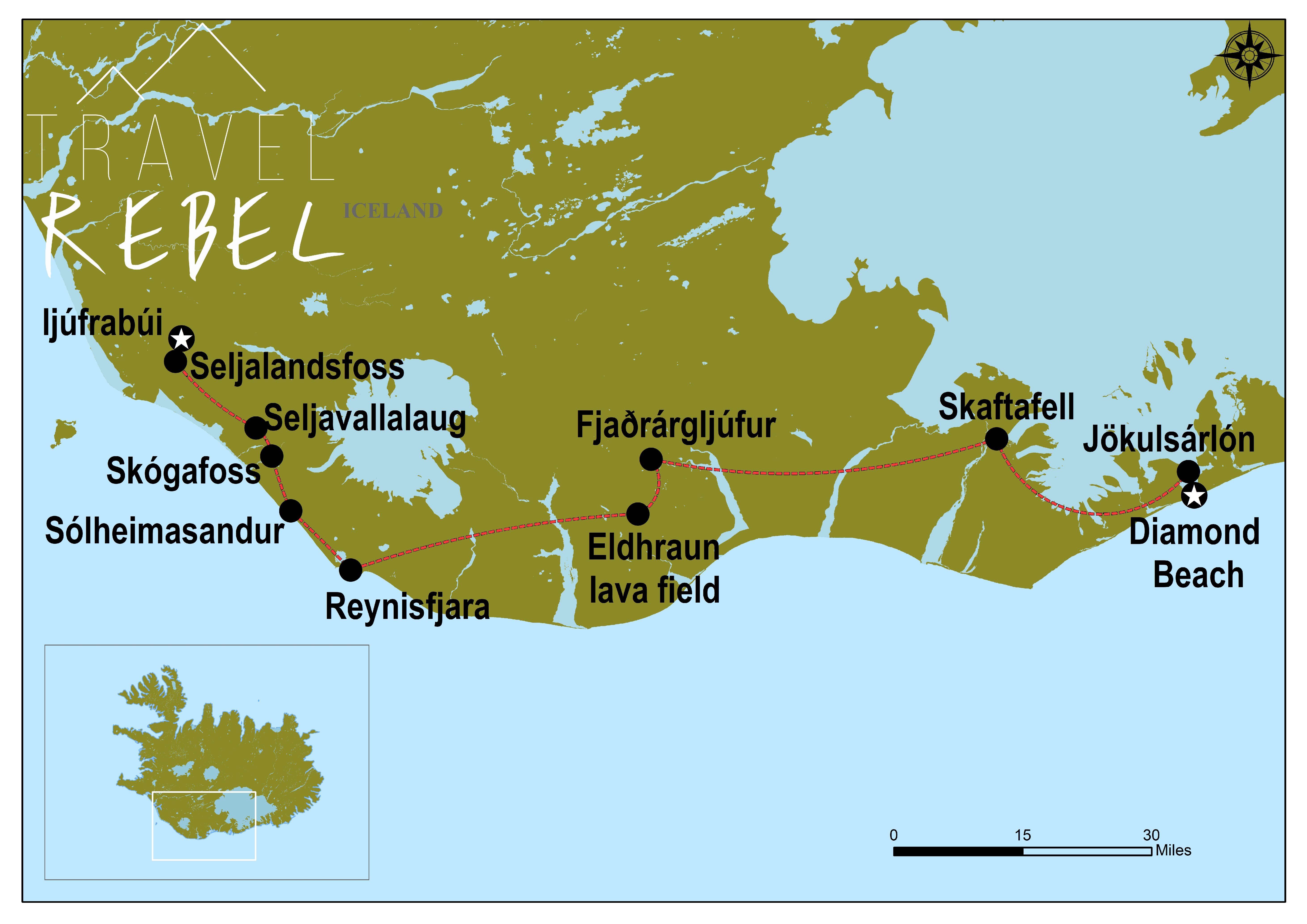 Roadmap Zuid IJsland TravelRebel