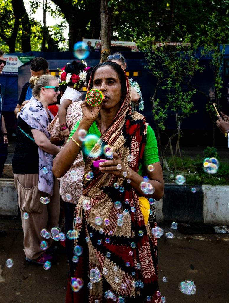 Warm welcome by friendly locals during Bengali New Year in Dhaka, the capital of Bangladesh