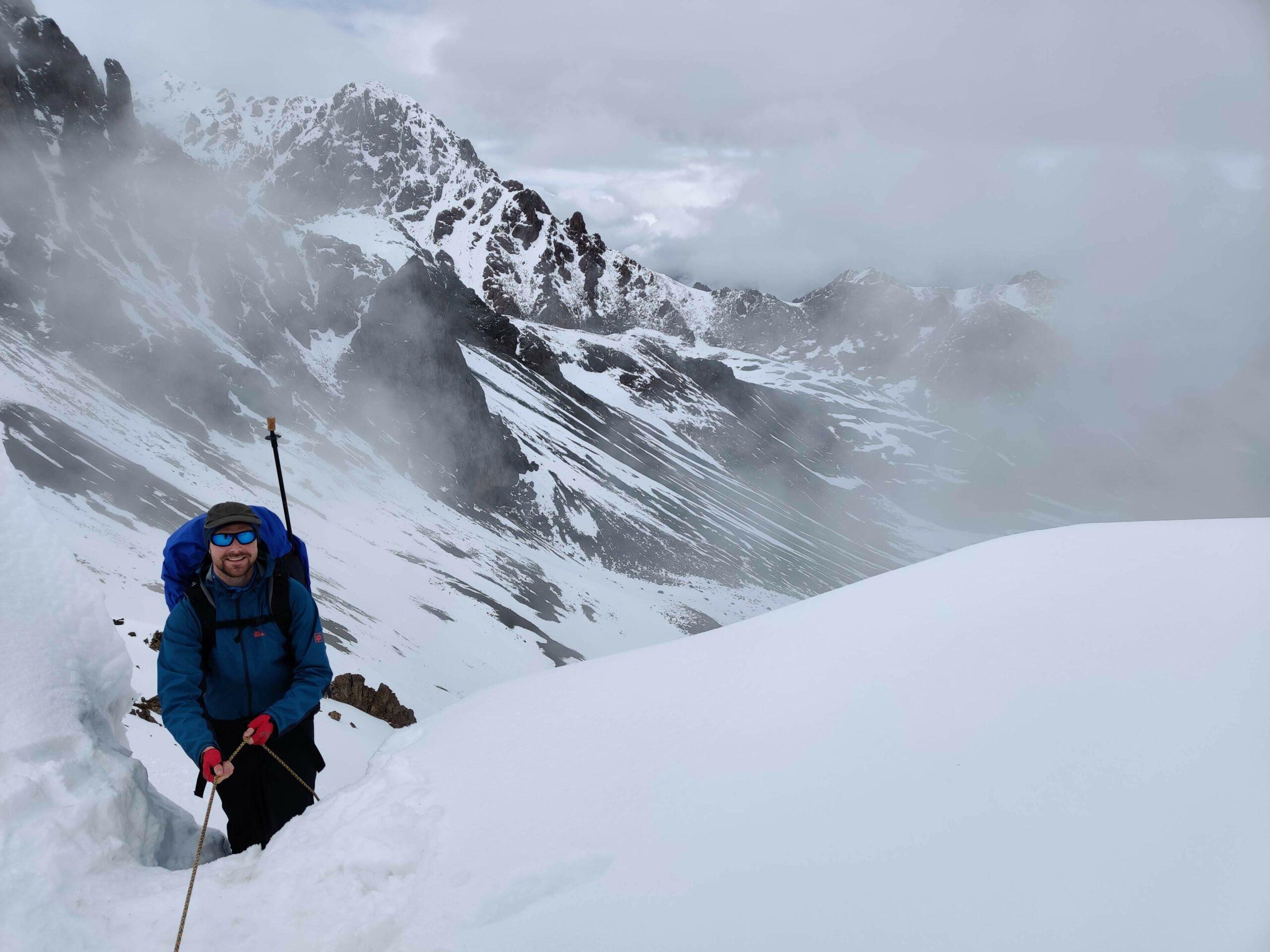 Hiking in the snow in Kyrgystan