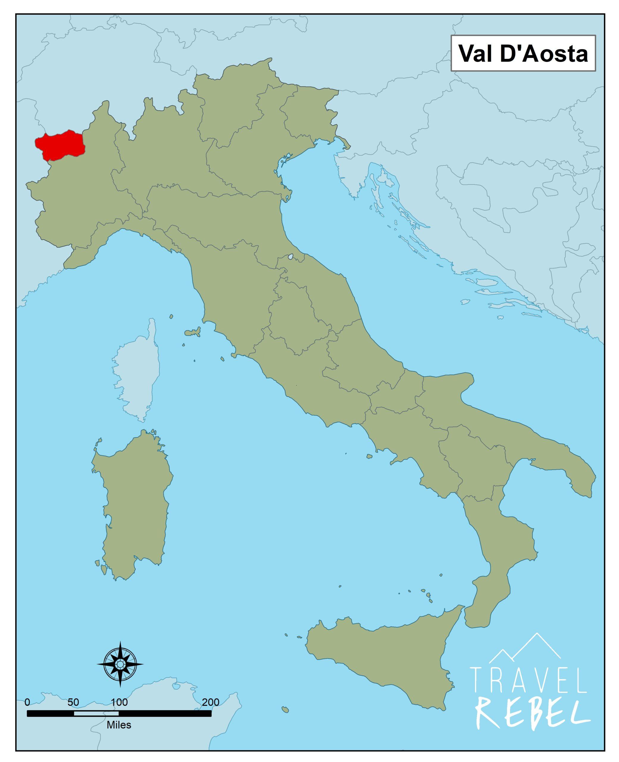 Italië kaart door TravelRebel Val D'Aosta