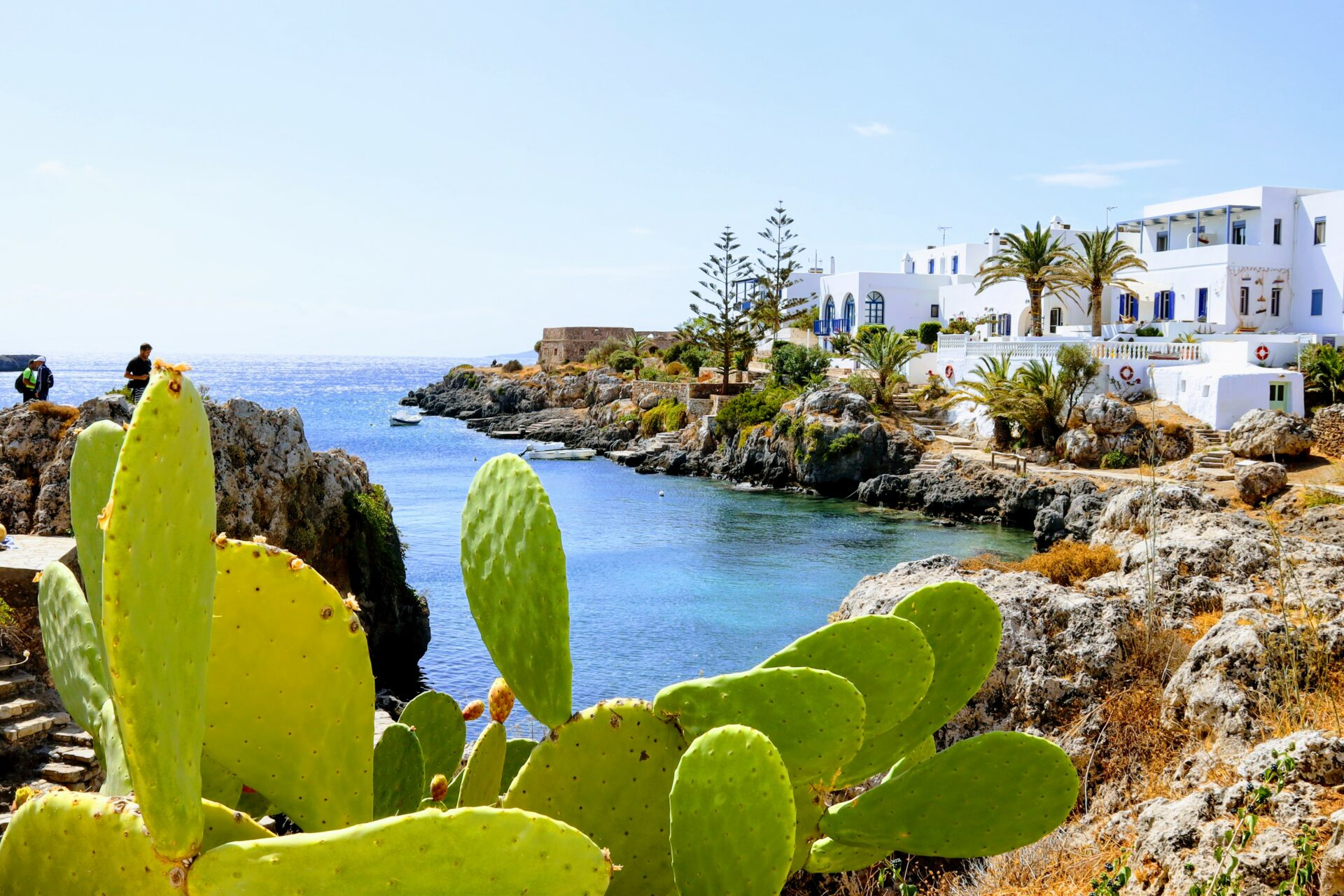 Sea view in Greece, small island Kythera, cacti, blue see, white houses