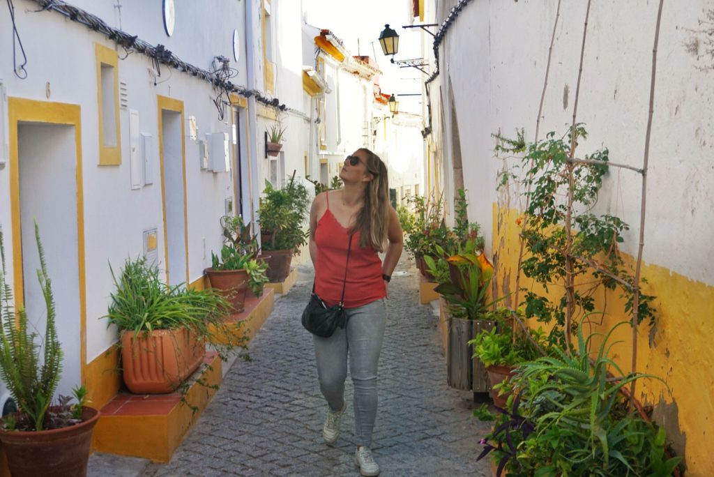 Elvas, Portugal, colorful and authentic little streets in Portugal