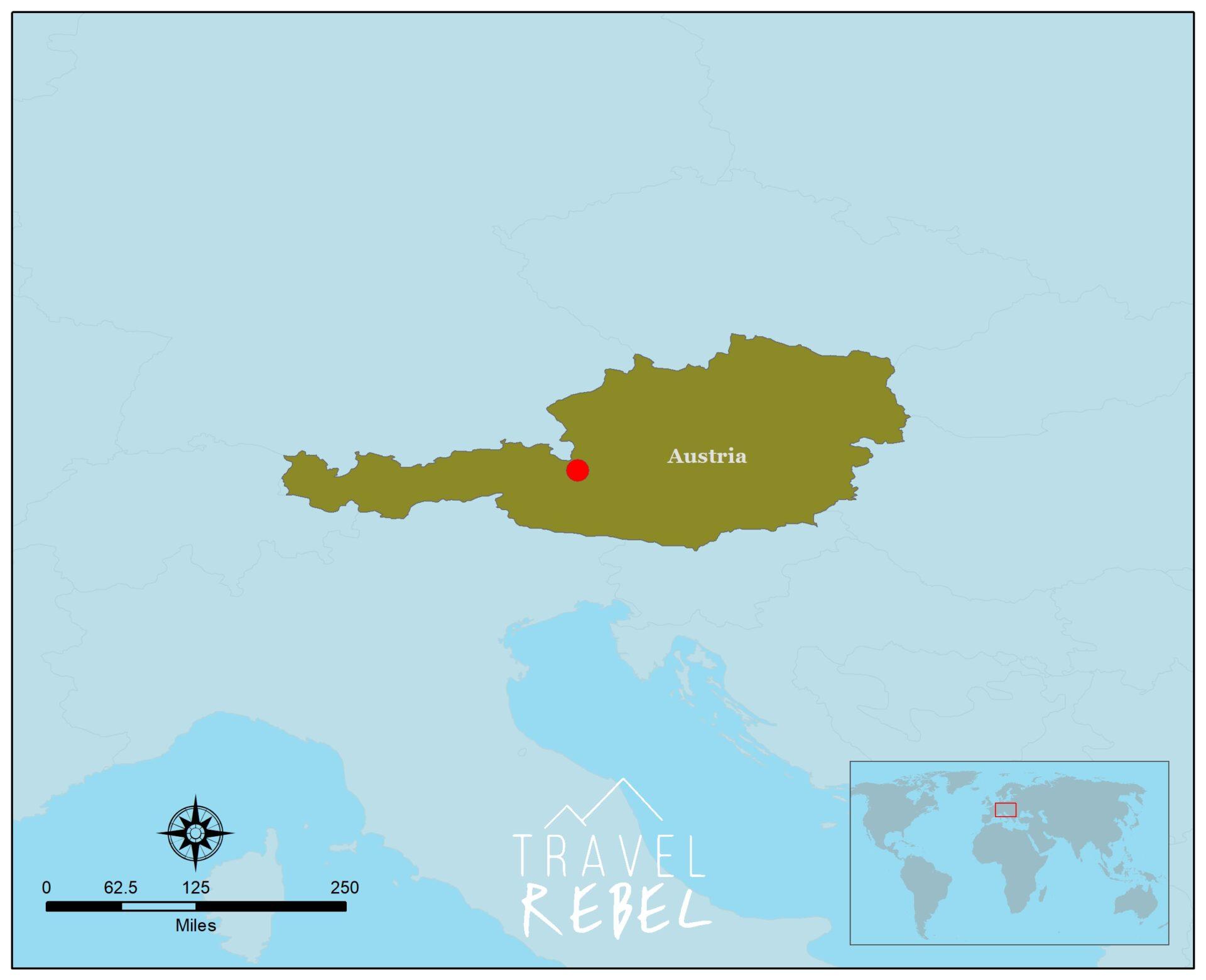 Kaart Oostenrijk - Hochkönig - ski amade TravelRebel reisblog