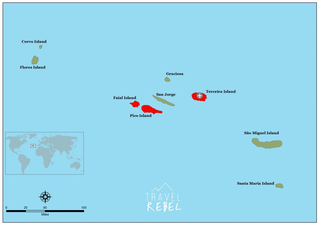 TravelRebel kaart de Azoren: Terceira, Pico en Faial