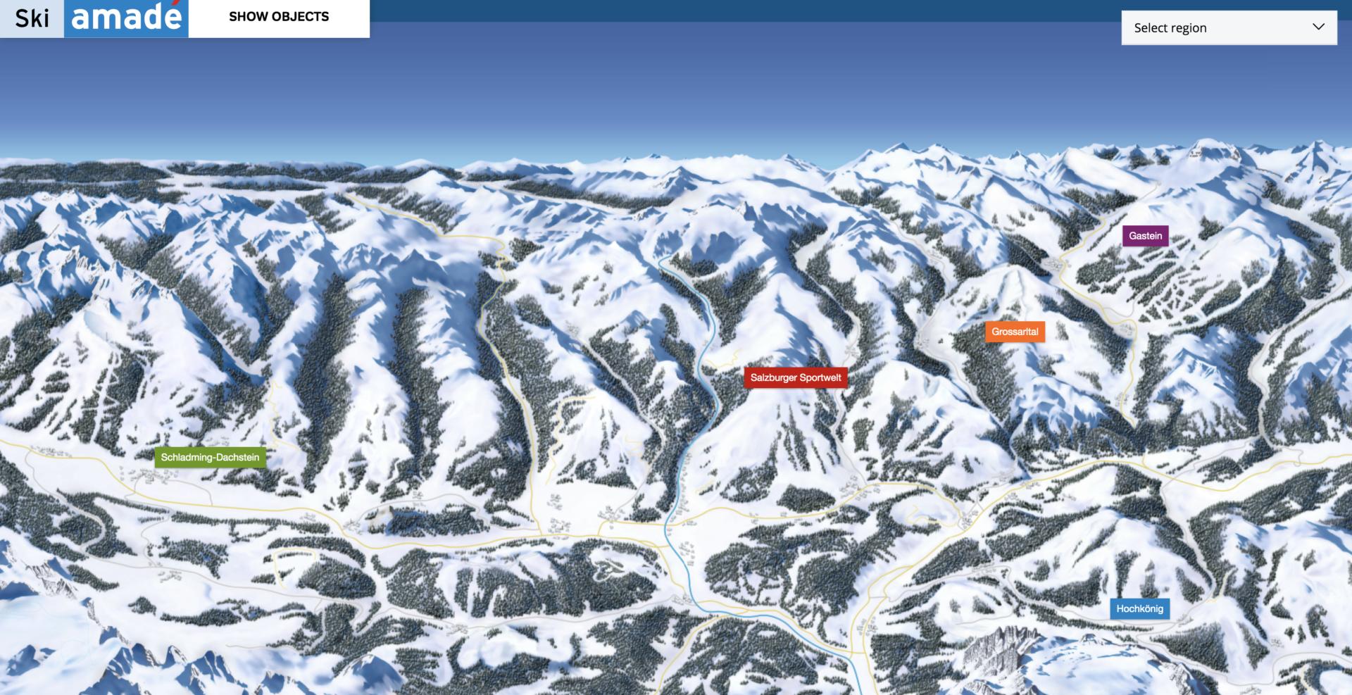 Kaart Ski Amadé: 5 regio's om te skiën. Gastein, Hochkönig, Grossarltal, Salzburger Sportwelt en Schladming-Dachtstein