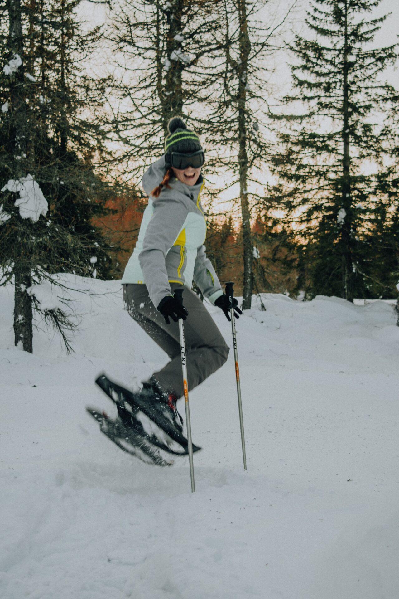 TravelRebel Silke snowshoe hiking in the Dolomites, Italy