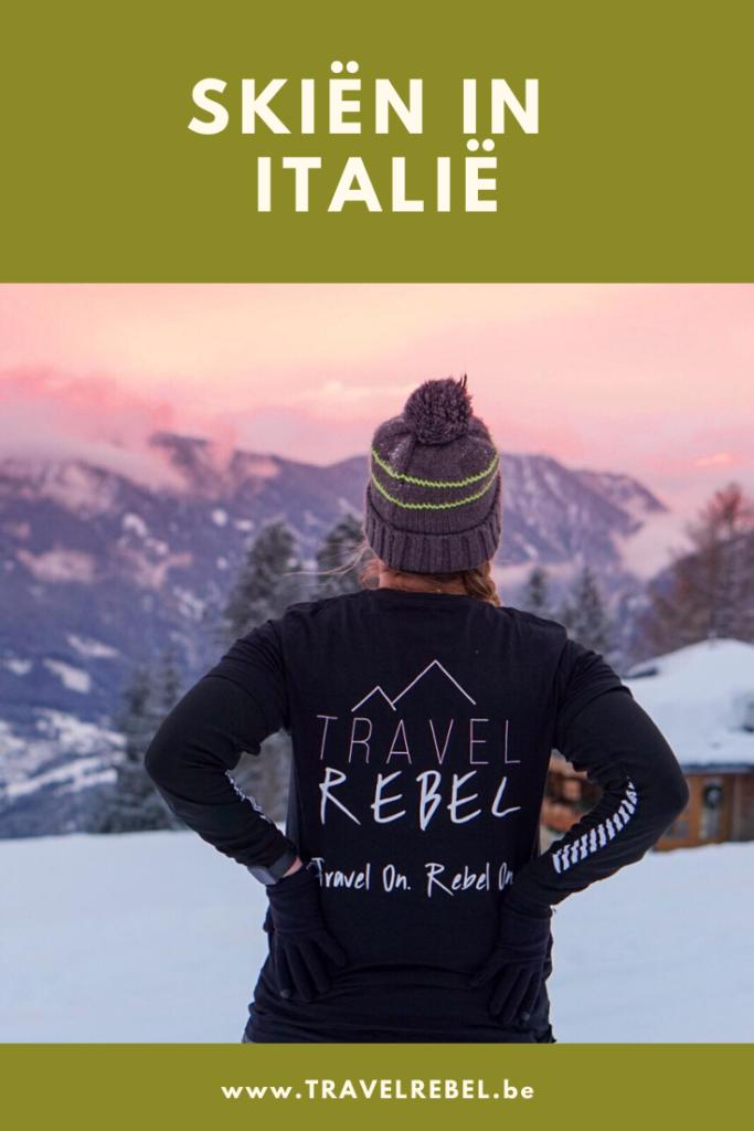 Skiën in Italië - Pinterest afbeelding voor Val Di Fassa