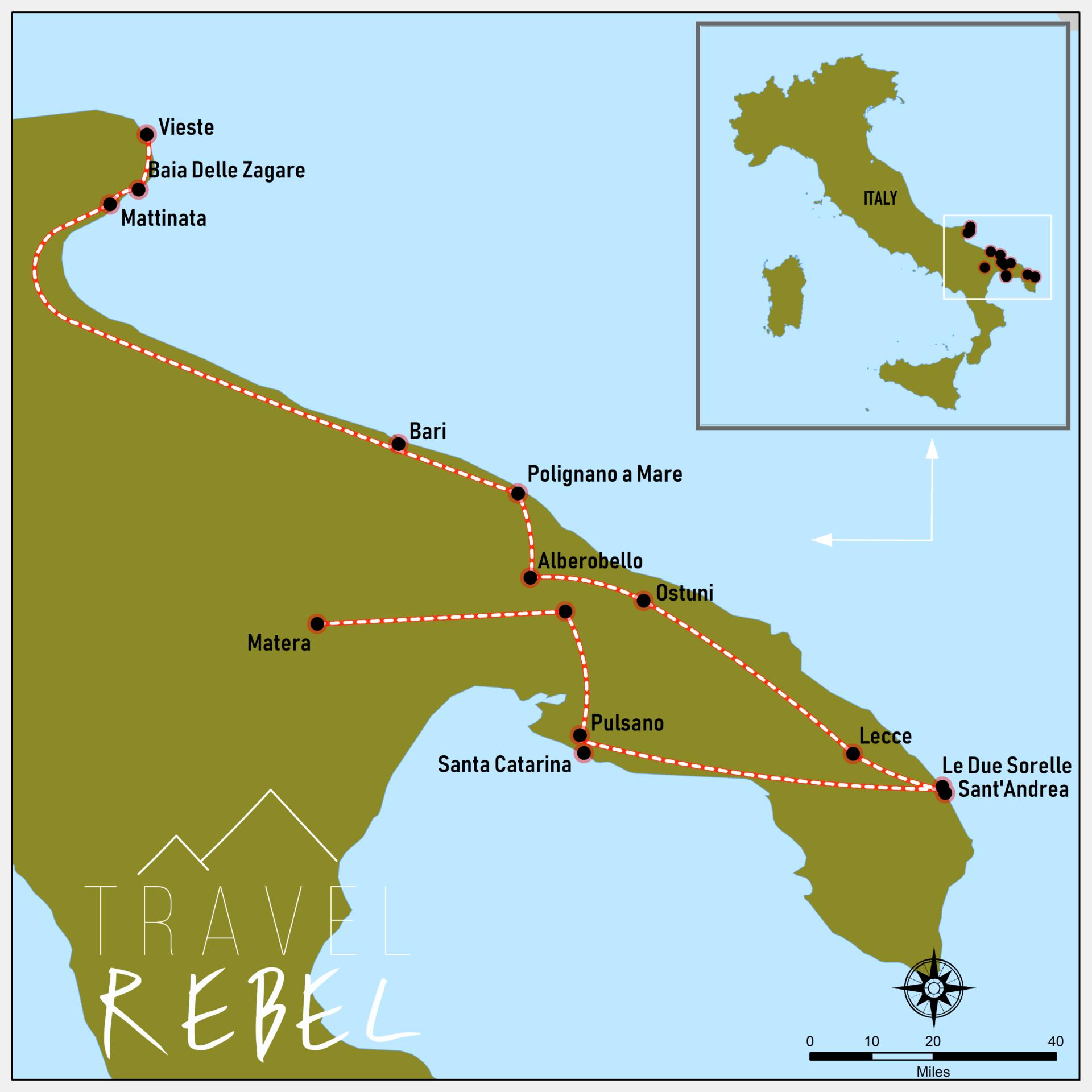 Kaart roadtrip Puglia - Italië