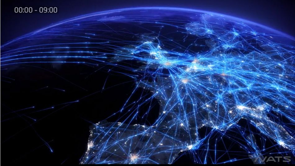 Visualisation of real air traffic over Europe in 2014 ©NATS Europe 24 video