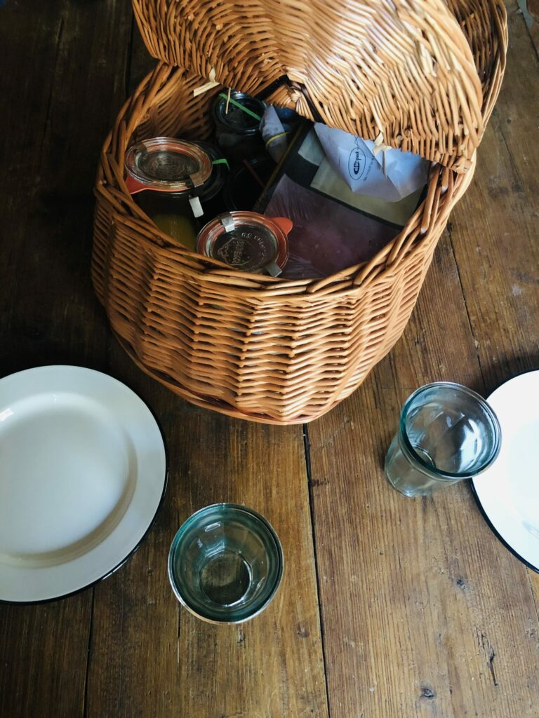 Breakfast basket in the cosy cabins