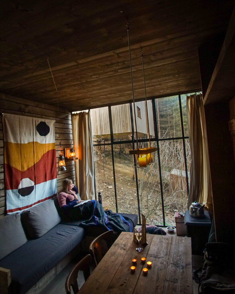 Relaxing in a cabin in the woods